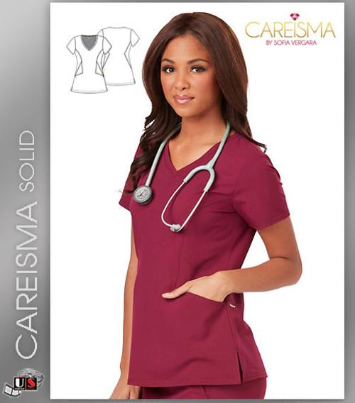 Careisma Women's Solid Short Sleeve V-Neck Top