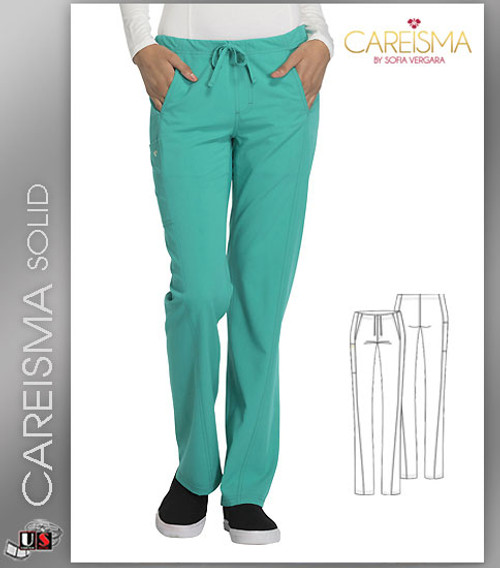 Careisma Women's Solid Low Rise Straight Leg Drawstring Pant