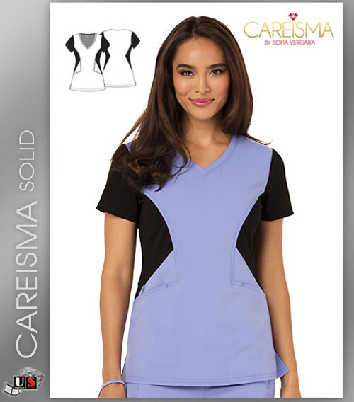 Careisma Women's Solid Women's V-Neck Short Sleeve Top