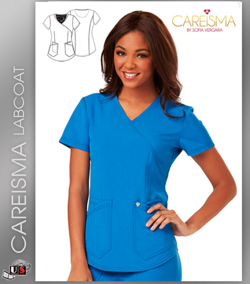Careisma Women's Short Sleeve Mock Wrap Top
