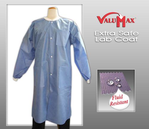 ValuMax Lab Coat Extra-Safe™ Long Sleeve Knee Length No Pocket Snap Front Lab Coat   ( 10 Pcs / Bags )