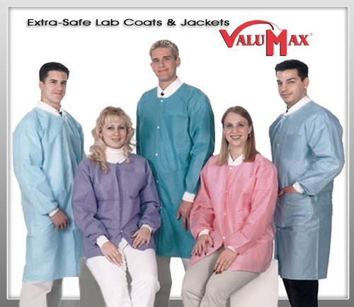 ValuMax Lab Coat Extra-Safe™ Long Sleeve Knee Length No Pocket Zip Front Lab Coat 10pcs/Bags