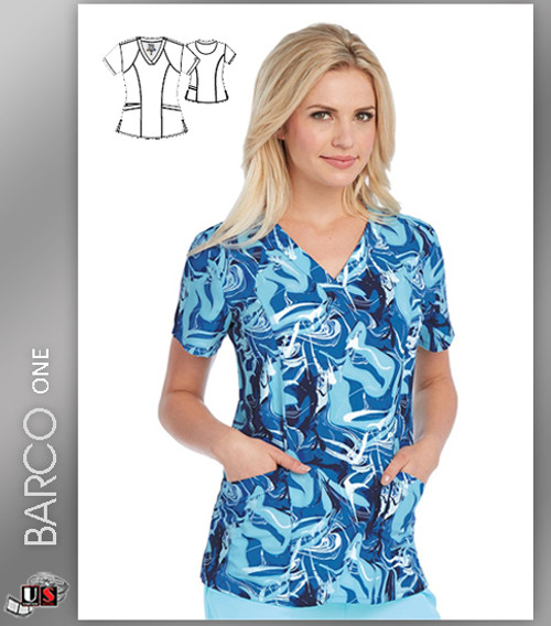 Barco One Blue Ocean Print V-Neck Scrub Top