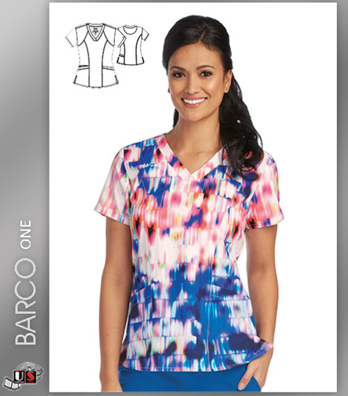 Barco One Neon Lights Print V-Neck Scrub Top