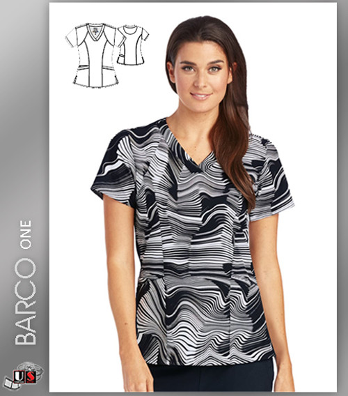 Barco One Origami Print V-Neck Scrub Top