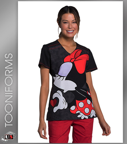 Cherokee Tooniforms Women's V-Neck Mickey Mouse Print Scrub Top