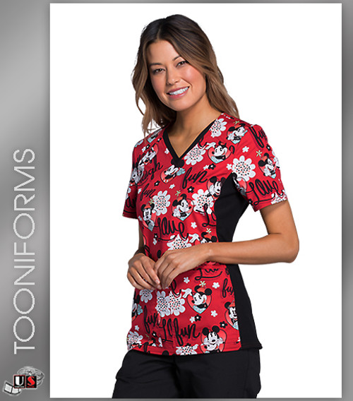 Cherokee Tooniforms Women's V-Neck Knit Panel Mickey Mouse Print Scrub Top