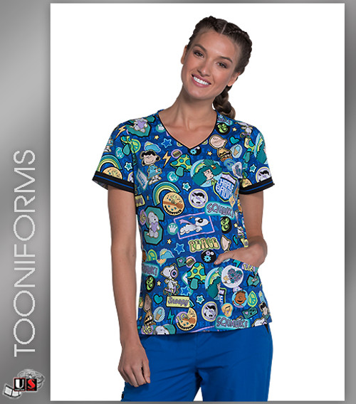 Cherokee Tooniforms Flair in the Air Women's V-Neck Short Sleeve Top