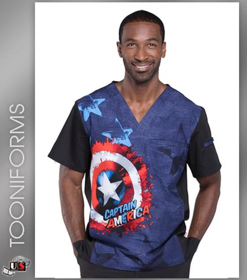 Cherokee Tooniforms Marvel Shield Men's V-Neck Short Sleeve Top