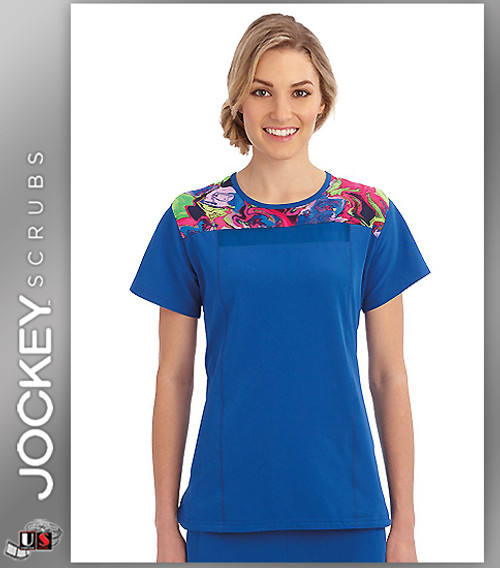 Jockey Scrubs Performance Rx Women's Round Neck Kinetic Multi Energy Top