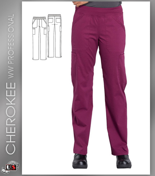 Cherokee Workwear Professionals Mid Rise Straight Leg Pull-on Cargo Pant