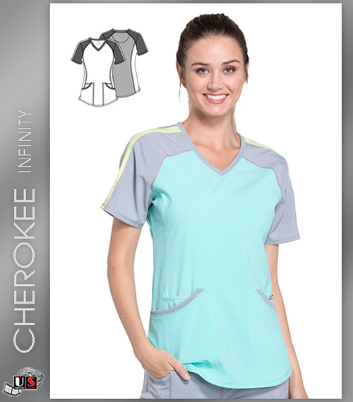 Cherokee Infinity Women's V-Neck Knit Back Solid Scrub Top-AQPS