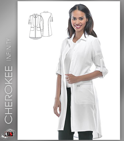 "Cherokee Infinity 40"" Lab Coat - White"
