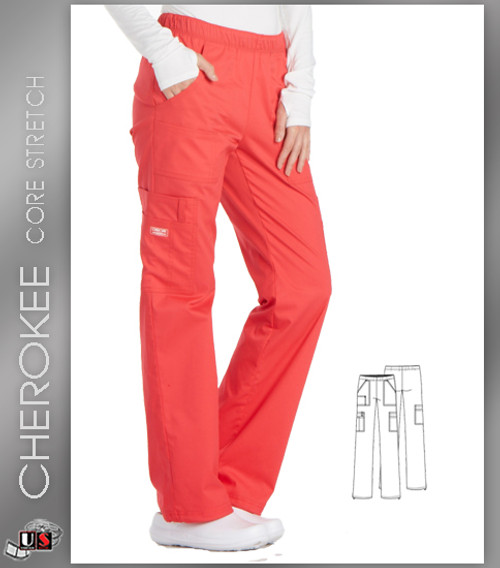 Cherokee Core Stretch Workwear's Women's Mid-Rise Cargo Pull-On Pant