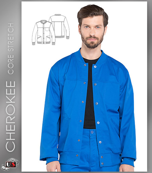 Cherokee Core Stretch Workwear Men's Snap Front Solid Scrub Jacket