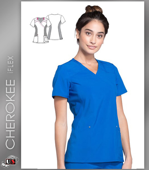 Cherokee iFLEX Women's Mock Wrap Soft Side Panel Solid Scrub Top