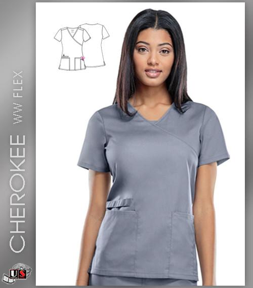 Cherokee Workwear WW Flex Women's Mock Wrap Solid Scrub Top