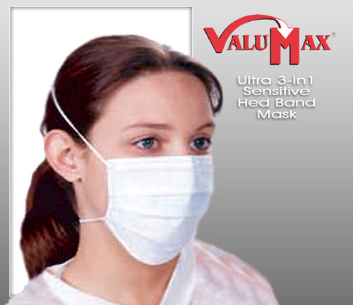 ValuMax Ultra 3-in-1 Sensitive Head-Band Mask  Blue ( 50 pcs / Box  )