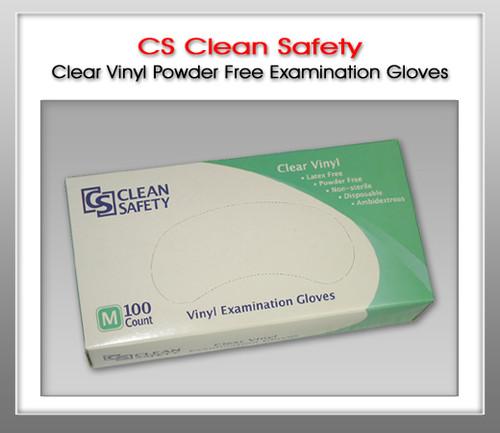 Clean Safety Clear Vinyl Powder Free Exam Gloves - 100 Gloves / Box