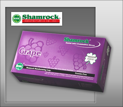 Shamrock Grape Flavored Powder Free Latex Examination Gloves – Textured -14000 Series - 100 Gloves / BOX