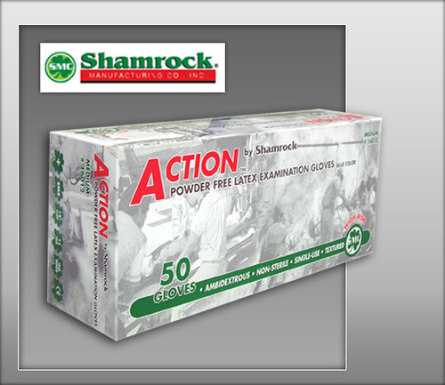 "Shamrock Powder Free Latex Examination Gloves – Textured - 12"" Extended Cuff - 16000 Series - 50 Pairs"