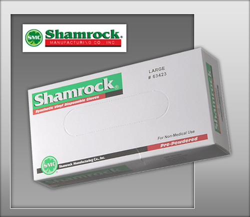 Shamrock Powdered Industrial Clear Vinyl Gloves - 63000 Series - 100 Gloves / Box