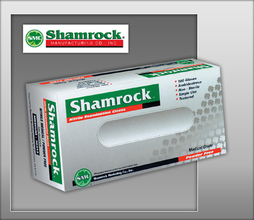 Shamrock Powder Free Nitrile Examination Gloves Fully Textured – Blue - 30000 Series - 100 Gloves / Box