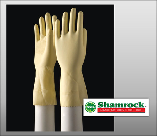 "Shamrock Yellow Flock-lined Household Latex Gloves 12"" Cuff – Hand Specific - 96000 Series"