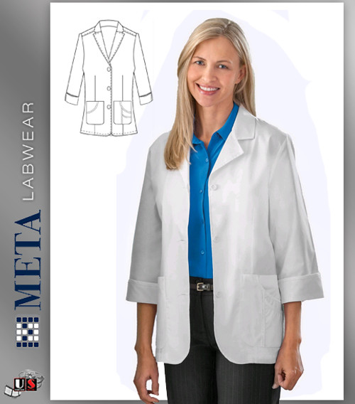 "871 Meta 29"" 3/4 Sleeve Stretch Labcoat"