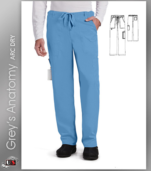 Grey's Anatomy Arc Dry™ Solid Men's Scrub 6 Pocket Zip Fly