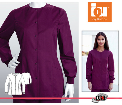 ICU Barco Solid Scrubs 2 Pocket Princess Line Snap Jacket