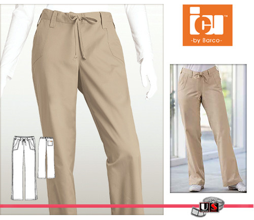ICU Barco Solid Scrubs 3 Pocket Tie Front Pant