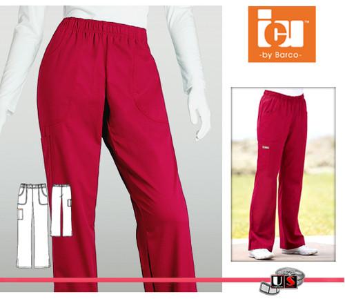 ICU Barco Solid Scrubs 3 Pocket Pants Soft Elastic Logo
