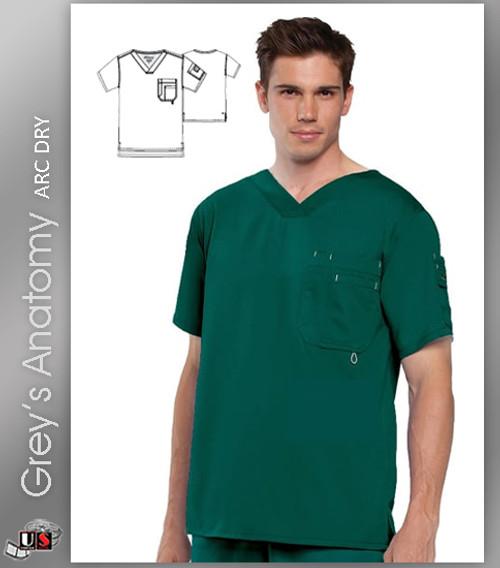 Grey's Anatomy Men's 3 Pocket High V-Neckline Top