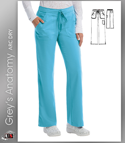 Grey's Anatomy™ Arc Dry Women's 4-Pocket Elastic Back Solid Scrub Pant