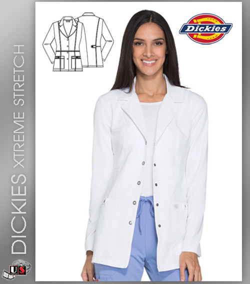 """Dickies XTreme Stretch 28"""" Snap Front Lab Coat"""