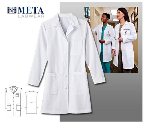 "Meta Labwear 37"" 4 Pocket Ladies Long Labcoat"