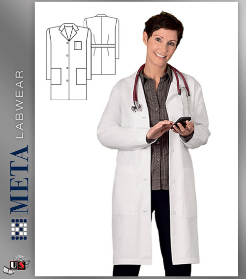 "651 Meta Ladies 38"" Cotton Labcoat"