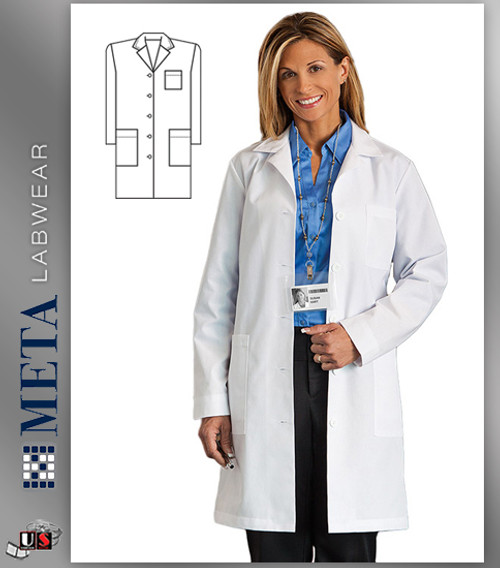 "161 META Labwear Women's Princess-Back 37"" Lab Coat"