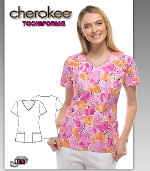 Cherokee Tooniforms CareBears Cant Hide My Love V-Neck Top
