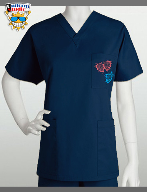 Uniform Studio Unisex V-Neck Top Butterfly