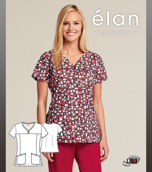 Barco Elan Mosaic Art V-Neck Scrub Top