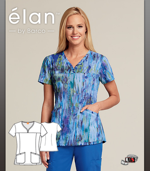 Barco Elan Crytal Glass V-Neck Scrub Top