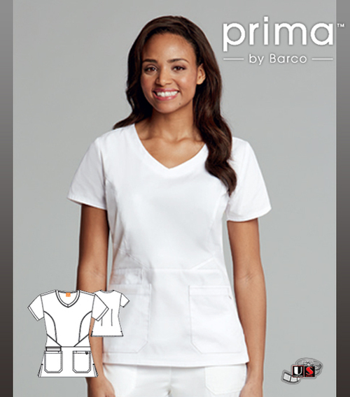 Barco Prima Round Neck Fashion White Three Pockets Scrub Top