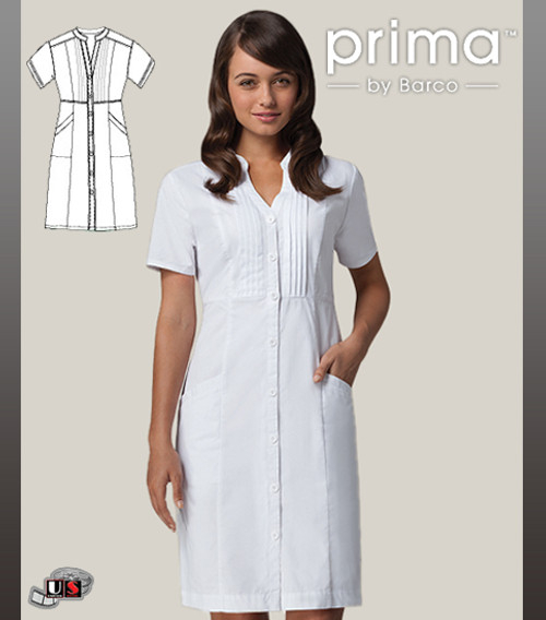 Barco Prima White 2 Pocket Button Front Dress