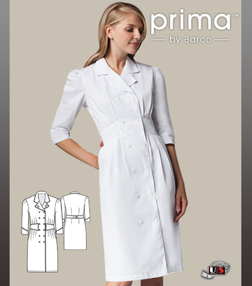 Barco Prima White 3/4 Sleeve Double Breasted Button