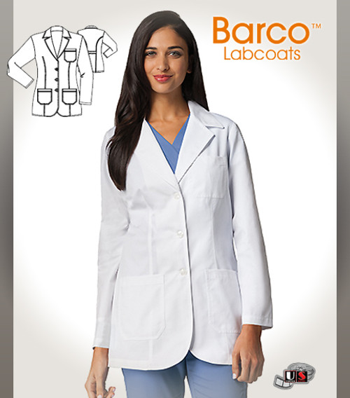 "KD110   32"" Women's 3 Patch Pocket Mid-length Lab Coat"