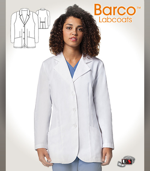"""Barco White 30"""" Women's 3 Buttons Mid-length Labcoat"""