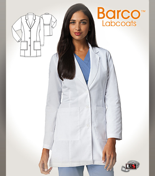 """Barco's 35"""" Women's Princess Seam Long-Length Labcoat with 2 Deep Patch Pockets"""