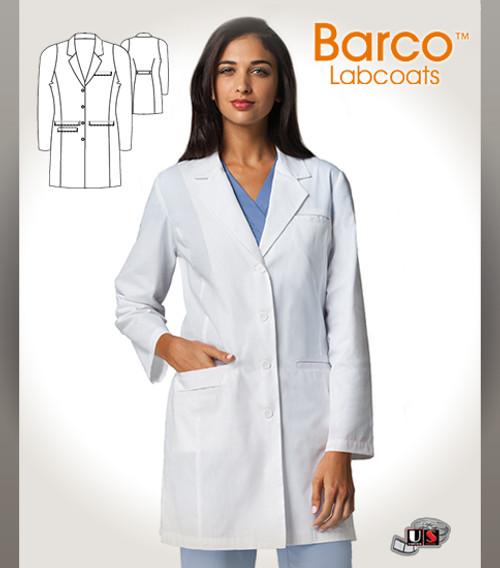 "Barco White 35"" 4 Pocket Lab Princess Seams Labcoat"